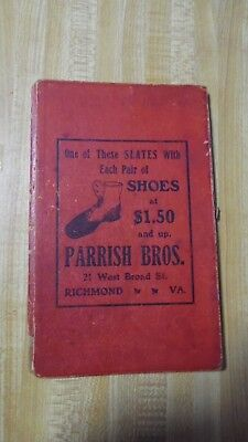 "Early 1900's PARRISH BROS SHOES Advertising Writing ""Blackboard"" Pages RICHMOND"