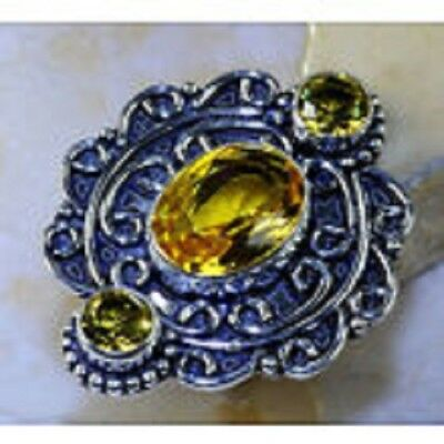 Beautiful Huge Genuine Citrine Medieval Concentration Maze 925 Silver Ring 8.5