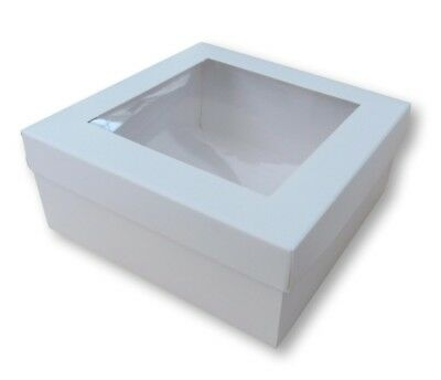50 WHITE 5 x 5 INCH BOX WITH WINDOW LID, GIFTS, GARMENTS, CAKES ETC