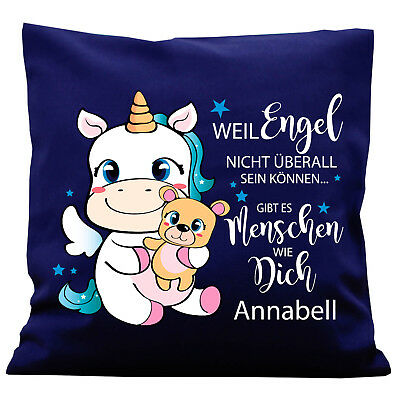 deko kissen einhorn spruch wunschname k308 geburtstag engel freunde pillow eur 29 90 picclick de. Black Bedroom Furniture Sets. Home Design Ideas