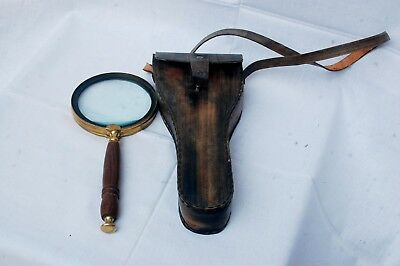 Brass & Wood Magnifying Lens Glass With Antique Finish Leather Case Replica