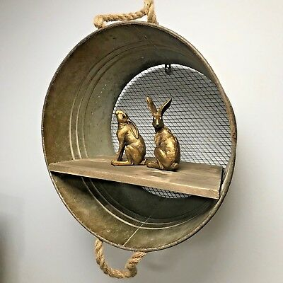 Round Metal Wall Hanging Shelf Display Drum Industrial Style