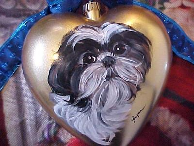Valentines Shih Tzu Puppy Heart Hand Painted Christmas Ornament
