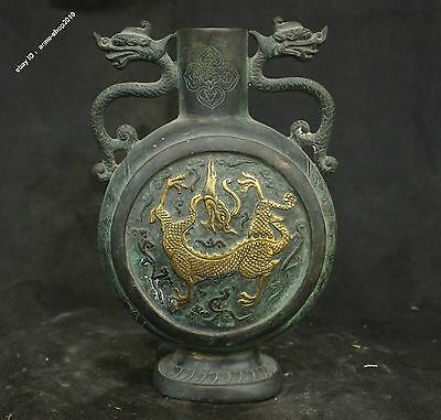 "8"" Chinese Bronze Gilt handmade Phoenix Dragon unicorn Bottle Pot Vase Statue"