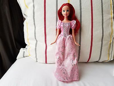 "Disney Princess The Little Mermaid ARIEL 11"" Doll in Pink Dress Mattel Barbie"