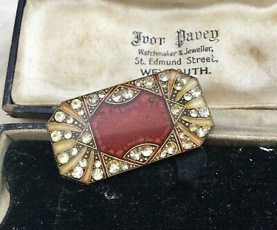 Old Antique Vintage Jewellery French Art Deco Geometric Enamel Brooch Crystal