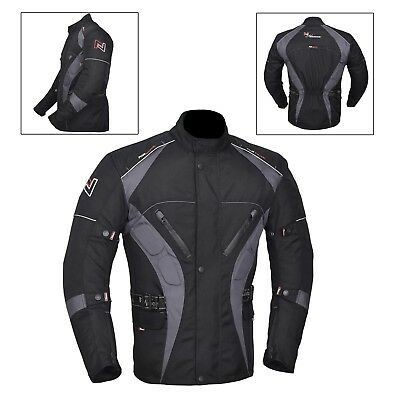 Grey/Black Men's Motorcycle Motorbike Jacket Waterproof Textile CE Armoured