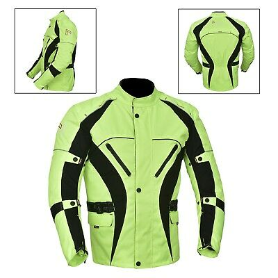 Green(Hivis) Men's Motorcycle Motorbike Jacket Waterproof Textile CE Armoured