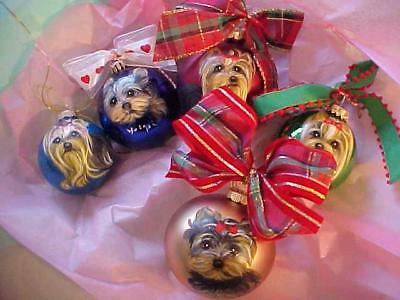 5 Five Yorkie Hand Painted Christmas Ornaments