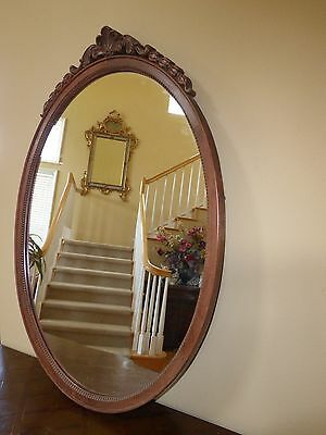 Antique French Provincial Ornate Carved Solid Wood Oval BROWN Wall Mantle MIRROR