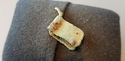 Nice rare little Roman copper alloy buckle plate with remains of buckle L71d