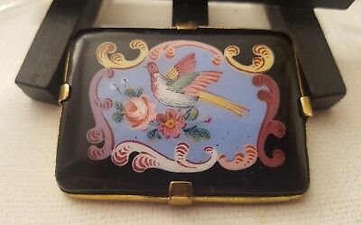 """Antique Vintage Victorian hand painted black glass Rose Bird pin brooch 1.75"""""""