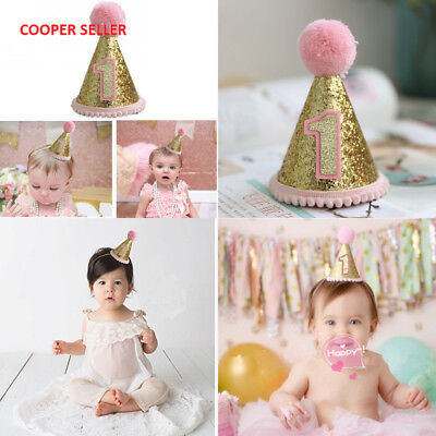 Gold Glitter Sparkle Princess 1st Birthday Cone Hat with Adjustable Headband...