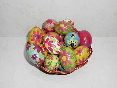 "Assorted Colorful Wooden Painted Ukrainian Easter Eggs Pysanka 2.1/2"" ""Flowers"""