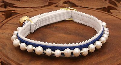 Freshwater Pearl  Blue Ancol Safety Cat/Kitten Collar Silver Beads & Gold Bell