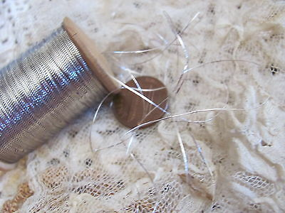 Rare Antique French Real Silver Metal Metallic Embroidery Thread Spool 1 ply