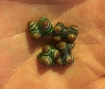 Set Of 4 Very Strange Phoenician Beads Unusual Items Of Historical Jewellery.