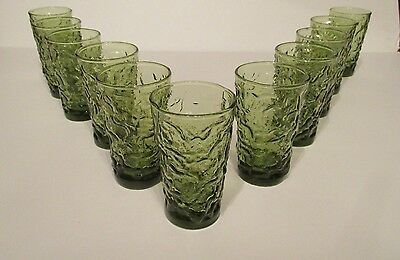 11 Anchor Hocking Milano Crinkle Textured Green Juice Glasses