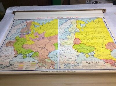Vintage 1967 Denoyer-Geppert Growth Of Russia Pull Down Map 01113A
