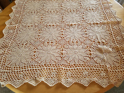 "NEW hand crocheted square tablecloth ECRU 32"" x 32"" square estate sale find"