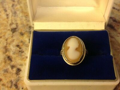 Old Vtg Antique Jewelry Solid 14K Gold Carved Cameo Ring Size 5.5