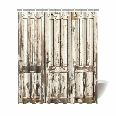 New Rustic Country Barn Wood Door Polyester Shower Curtain Vintage Bathroom