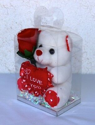 """7"""" White Teddy Bear W/ Red Flower in Clear Box— I LOVE YOU—New"""