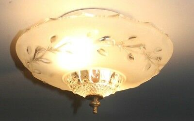 "Antique 12"" frosted glass art deco light fixture ceiling chandelier Porelier"