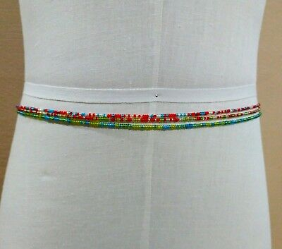 3 Strands African Waist Belly Beads, Ghana, Blue Red Green