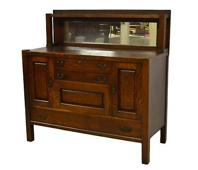 Stickley Brothers Antique Quartwesawn Oak Mission Mirrored Sideboard