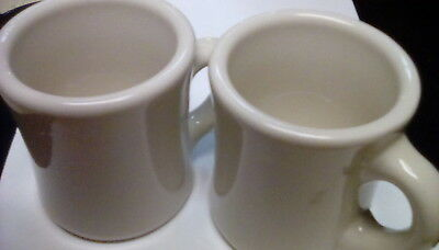 Vintage Victor Pair of Coffee Cup Mugs VG Condition Off White Restaurant Ware