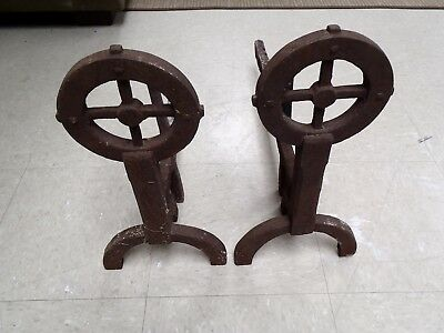 Vintage Set of 2 Antique Andiron Fireplace Wrought Iron Firedogs