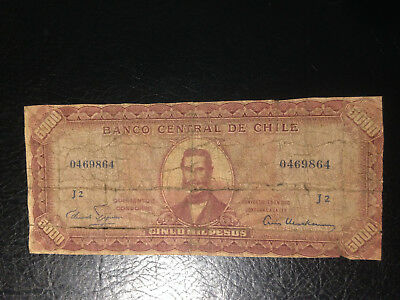 Chile  banknote 5000 Pesos 1960-61 !!!!!!