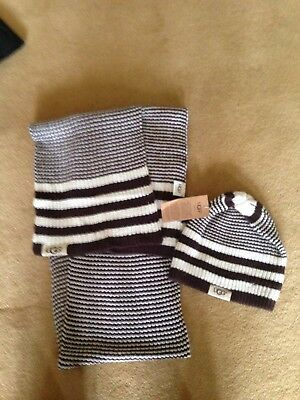 BNWT Genuine Ugg Hat & Scarf Set cream and brown stripe wool