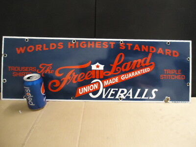Large Vintage Porcelain Sign Free Land Overalls Union Made Work Clothes Rare