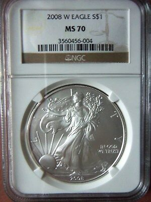 2008 W 1 Oz American Silver Eagle MS70 NGC Brown Label