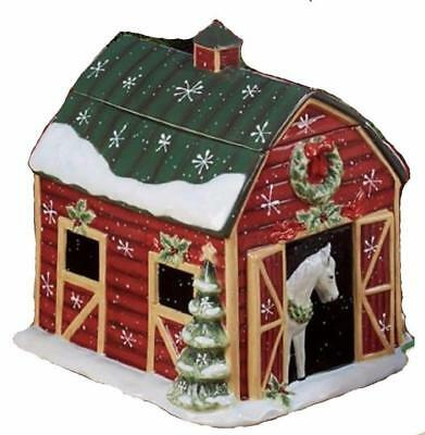 Susan Winget Holiday Horse Barn Cookie Jar Western Christmas  New
