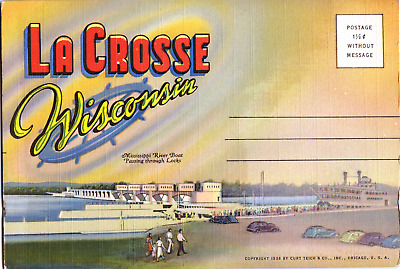 Vintage, La Crosse Postcard Folder; MILW Hiawatha, River Boats, Old Style Beer
