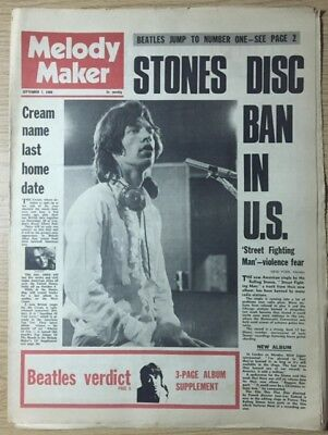 MELODY MAKER September 7th.1968 the Stones, Airplane & all important gig guide.