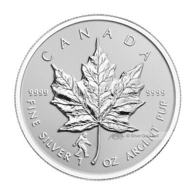 1 oz 2016 Canadian Maple Leaf Bigfoot Privy Reverse Proof Silver Coin