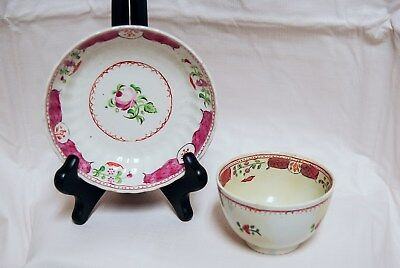 Antique 19th Century English New Hall Pocelain Spring Rose Tea Bowl Cup Saucer