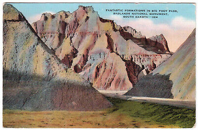 AK US USA Post Card Big Foot Pass Badlands National Monument gelaufen 1950