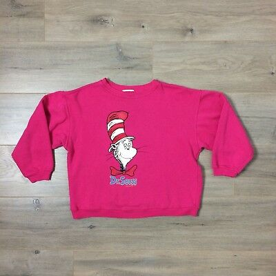 RARE 1984 Dr. Seuss the Cat in the Hat Cropped Sweatshirt Vintage Pink Cartoon
