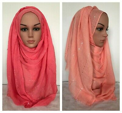 Soft Viscose Sparkle Plain Scarf Fringes Shawl Muslim Hijab 21 colors 180x90cm