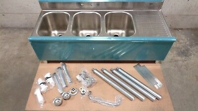 Eagle Group B4 3 Compartment Under Bar Sink with One (RT) Drainboard