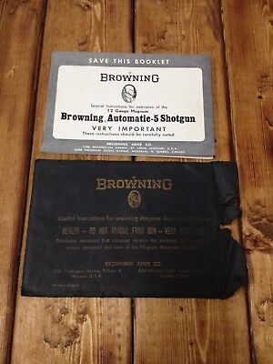 Advertising Instruction Manual Browning A-5 Shotgun W/protective Sleeve Vintage