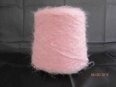 Mohair Wool Large 500gm Cone of Double Knitting (2'sNM) Baby Pink Brushed Mohair