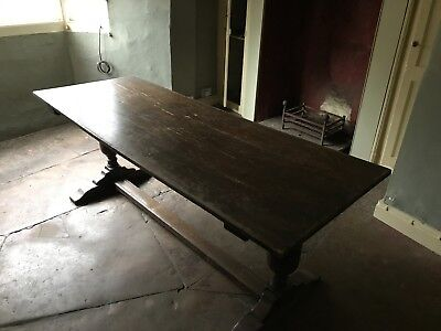 Antique Oak Refectory Farmhouse Style 6-8 Seater Dining Table.