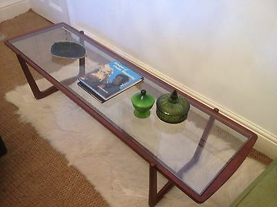 Vintage Mid Century Danish Afromosia Teak Glass Coffee Table 5ft (Frame Only)