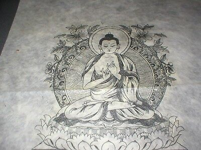 Buddha, Antique Engraving of Buddha, Pen and Ink on Rice Paper